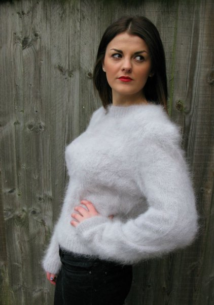 white crew neck mohair sweater black skinny jeans