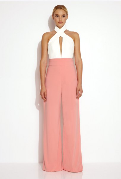 white criss cross neck top beige wide leg dress pants