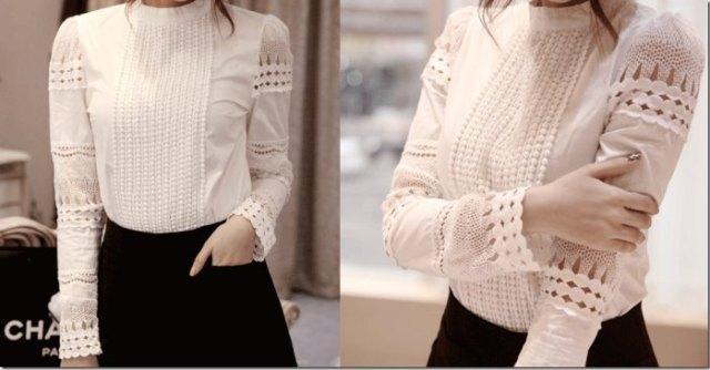 white crochet lace linen shirt black skirt