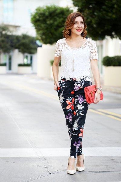 white crochet top black floral pants