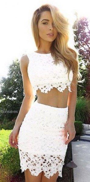 white crochet two piece bodycon dress