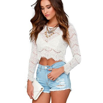 white cropped lace top light blue ripped denim shorts