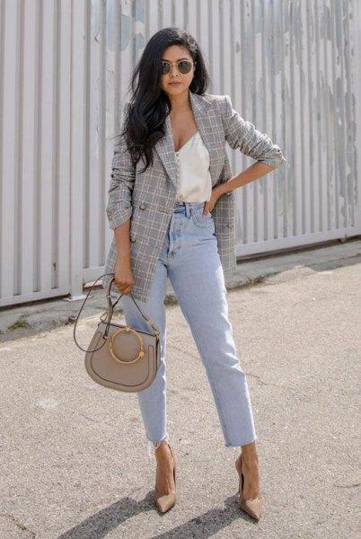 white deep v neck vest top mom jeans