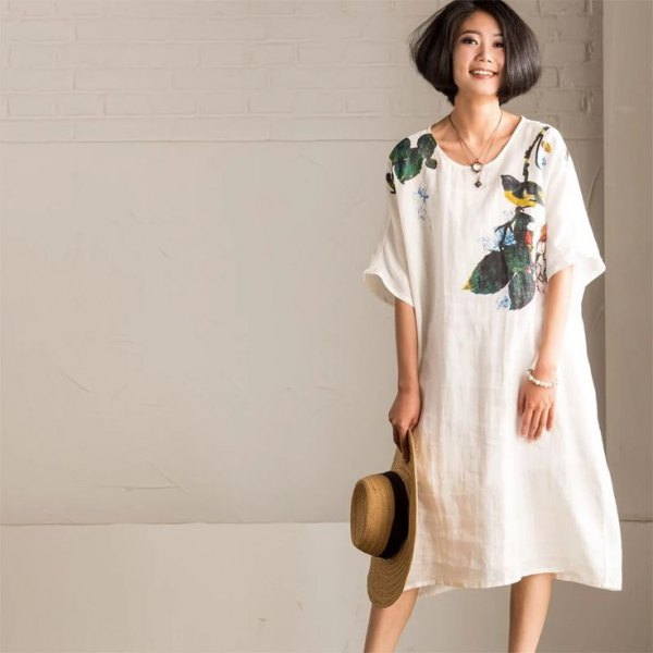 white floral linen swing dress