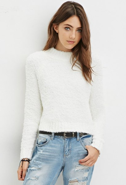 white fuzzy mock neck sweater boyfriend jeans