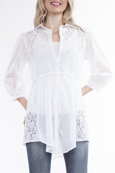 white gathered waist button up shirt grey jeans