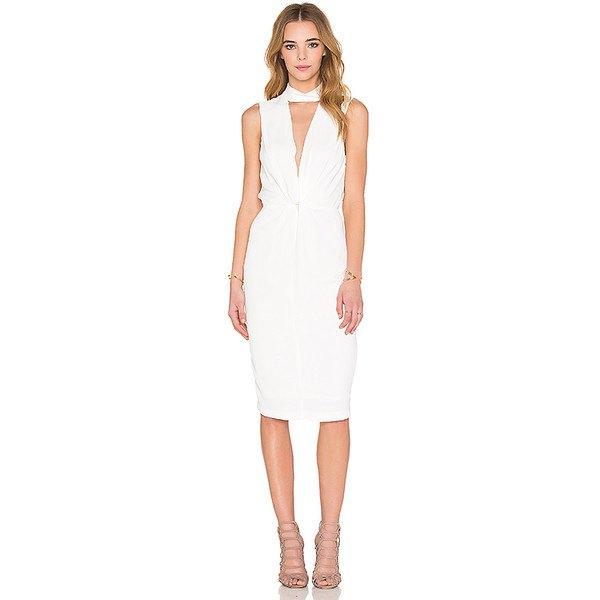 white gathered waist knee length dress