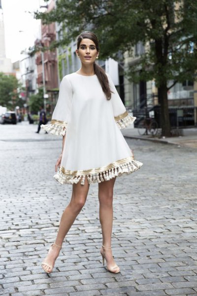 white half sleeve tassel swing mini dress