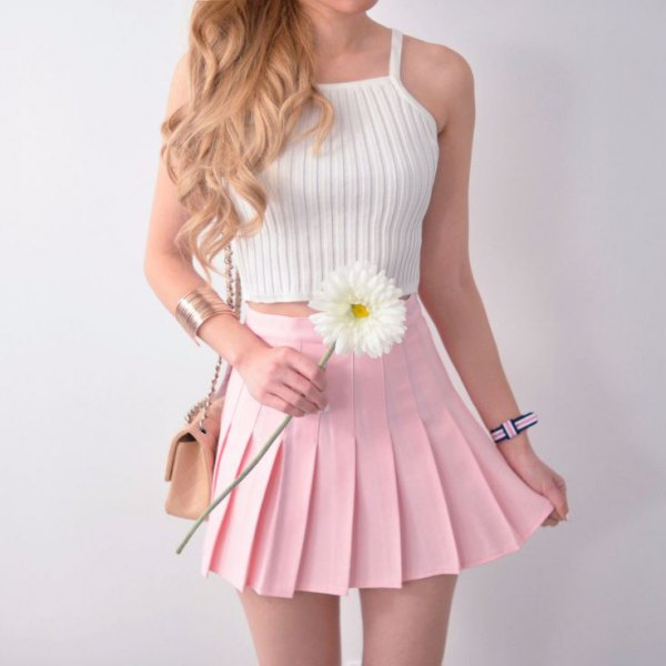 white halter knit top pale pink pleated mini skirt