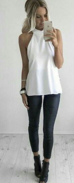 white halter top black leggings