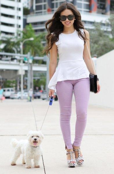 white high low peplum top teal skinny pants
