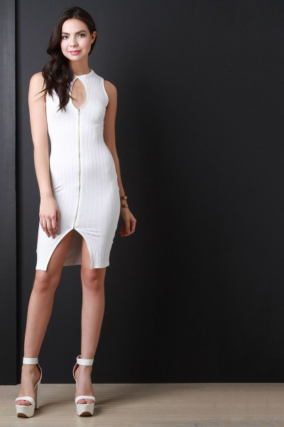 white keyhole zip front bodycon mini dress
