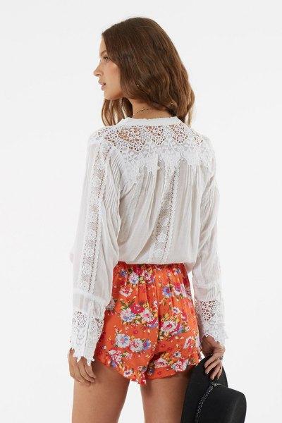 white lace shirt lime green floral mini shorts