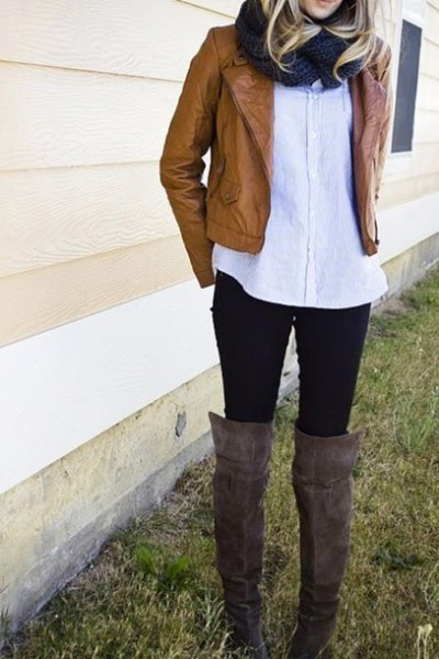 white long button up shirt boots
