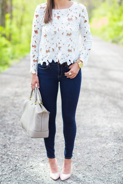 244d877db36 White Long Sleeve Crochet Top with Dark Blue Skinny Jeans. source. A very  typical way to wear ...
