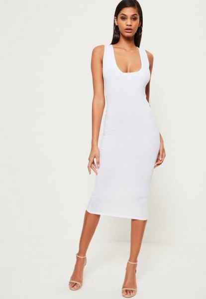 white low square neck midi bodycon dress