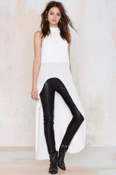 white maxi high low mock neck top leather pants