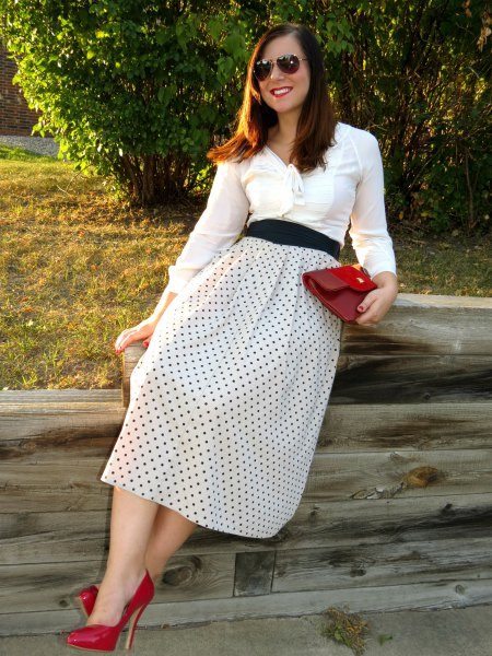 white midi skirt red dots
