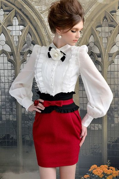 white puff sleeve blouse red bodycon mini skirt