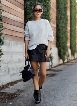 white ribbed chunky sweater black lace up leather skirt