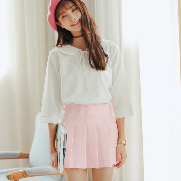 white ribbon blouse pink painters hat