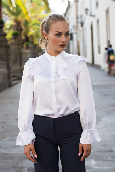 white ribbon bow silk shirt black pants
