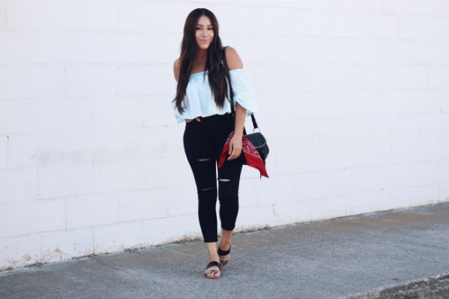 white ruffle top black jeans sandals
