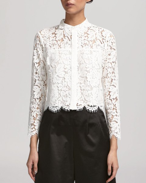 white scalloped hem lace shirt black culottes