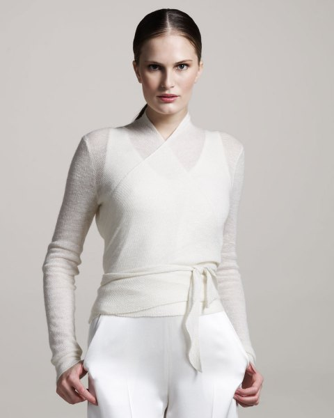 white semi sheer belted sweater over tank top