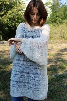 white semi sheer mohair sweater dress