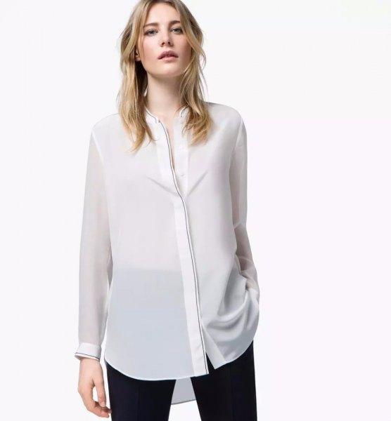 white semi sheer rayon collarless shirt