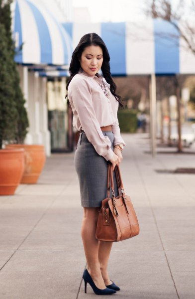 white shirt grey pencil skirt
