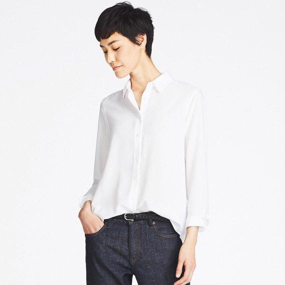 white shirt heather grey wool chinos