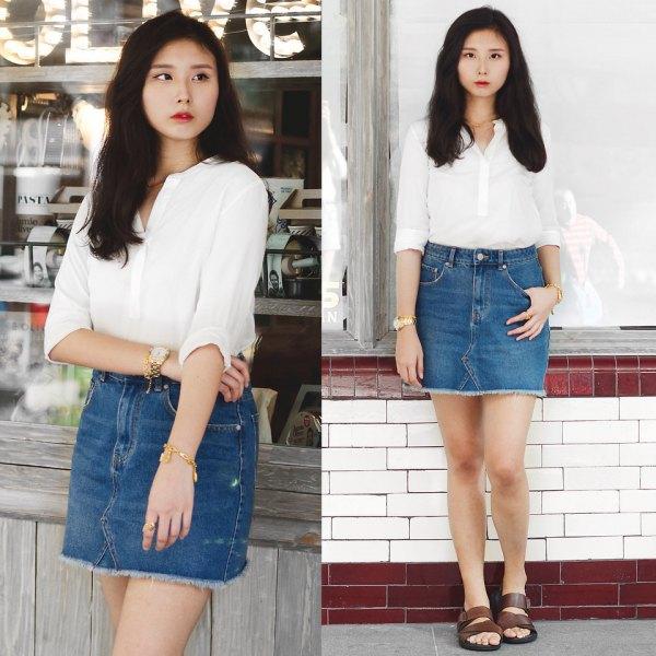 white shirt high waisted bodycon mini denim skirt