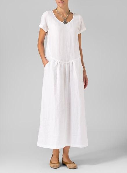 white short sleeve maxi linen shift dress