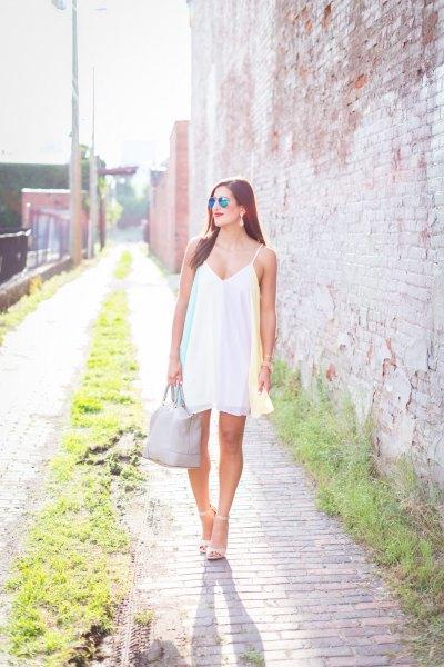 white spaghetti strap v neck swing dress