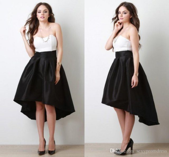 white strapless top black silk high low flare skirt