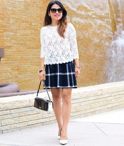 white three quarter sleeve lace top
