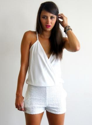 white top mini shorts