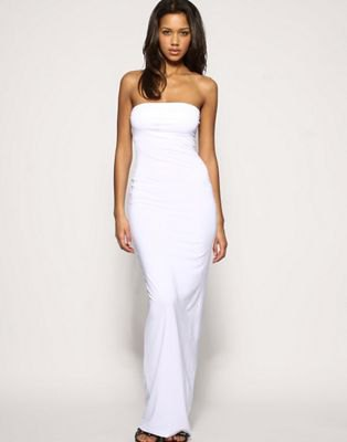 white tube bodycon maxi dress black open toe heels