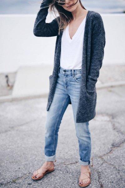 white vest top cuffed boyfriend jeans