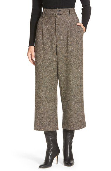wide leg pants mid calf heeled leather boots