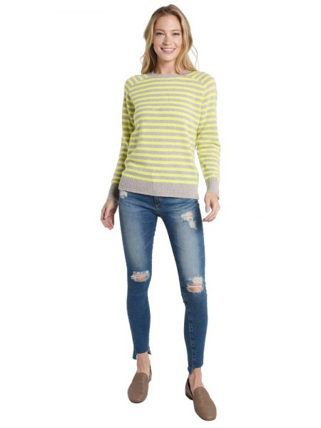 yellow and grey striped sweater ripped skinny jeans
