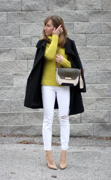yellow chunky knit sweater black wool coat