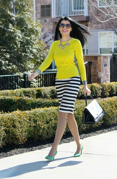 yellow long sleeve tee striped knee length skirt