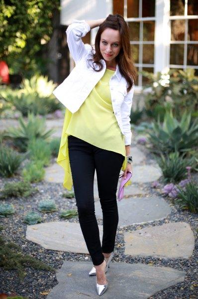 yellow ruffle top white denim jacket