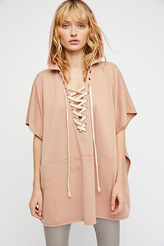 hooded poncho lace up