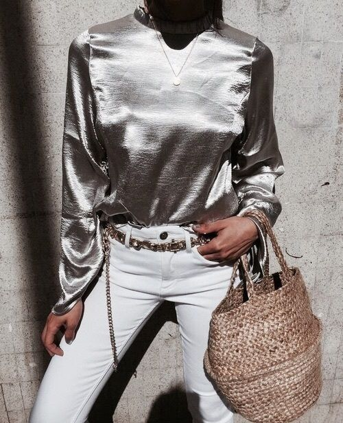 metallic top silver summer