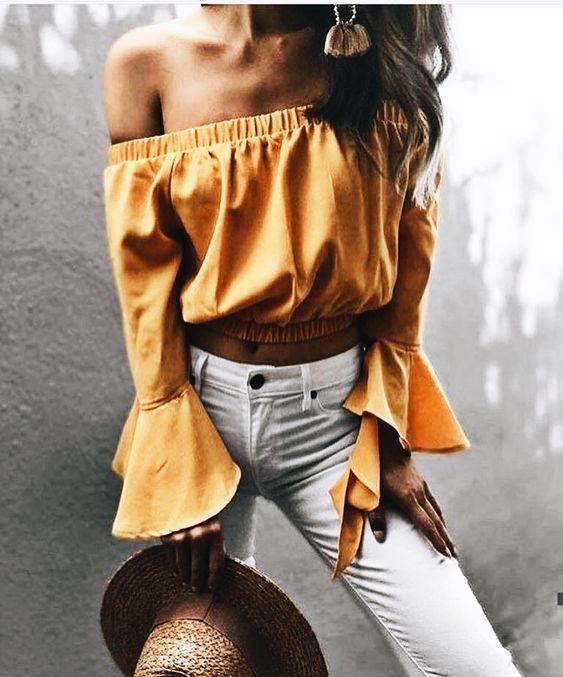 yellow off the shoulder top bell sleeves