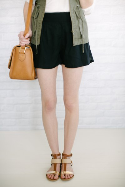 army green cargo vest black flowy shorts